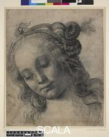 Verrocchio, Andrea del (1436-1488) Head of a woman, c. 1475 (recto). This is one of several drawings, including one on the reverse of this sheet (00227184001), for the head of a nymph or Venus. The chief study for the nymph is in the Galleria degli Uffizi, Florence, begun by Verrocchio (about 1435-88) and completed by Leonardo