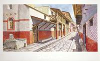 ******** Ancient Rome. Italy. Herculaneum (today in the Italian region of Campania). Reconstructed north-south-oriented street cardo (or cardus) IV. Color illustration
