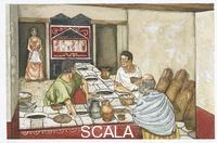 ******** Ancient Rome. Pompei (Italy - Campania Region). Reconstructed ready-to-eat food restaurant 'thermopolium' on the Via dell'Abbondanza. Color illustration