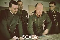 ******** During a briefing, from the left: Adolf Hitler, Wilhelm Keitel, Alfred Jodl and an official of the Luftwaffe. Summer 1942.