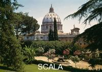 Michelangelo (Buonarroti, Michelangelo 1475-1564) Dome of St. Peter's seen from the gardens