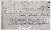 ******** Telegram by Lev Tolstoy to Wladimir Tschertkow dated November 1st, 1910 from Astapovo