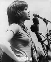 ******** Jane Fonda addresses the crowd at an anti-war demonstration, Washington DC, USA, 9 May 1970. American actress and film star Jane Fonda (1937-) was a prominent and outspoken opponent of America's involvement in the Vietnam War.