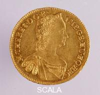 ******** Austrian golden ducat with portrait of Maria Theresa of Austria (Marie-Therese d'Autriche) (1717-1780) 1763 Naples, museo archeologico