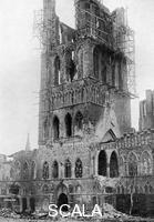 ******** The tower of Market Hall after a German bombardment, Ypres, Belgium, First World War, (1920).