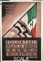 ******** Italy, 20th century, First World War - Propaganda poster for the National Association of Volunteers of the War quoting a sentence by Gabriele D'Annunzio (Volontari! Spiegate la bandiera! Coprite l'ignominia! Sventolate il tricolore in tutto il cielo!)