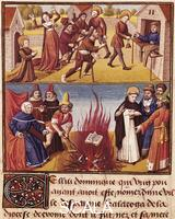 ******** Saint Dominic burning the books of the Albigensians, miniature from Le Miroir Historial by Vincent of Beauvais, manuscript, France 15th Century.