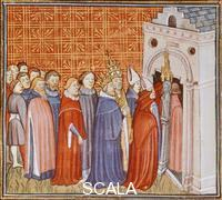 ******** Charlemagne and his retinue entering a church, miniature from The Chronicle of Saint Denis, manuscript, France 14th Century.