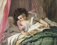 ******** Reading Time. Sophie Anderson (1823-1903). Oil on canvas. 43.2 x 53.3cm.