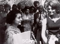 ******** Indira Gandhi and Jacqueline Kennedy presenting the Children's Art Carnival in New Delhi, India, March, 14, 1962