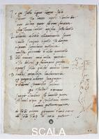 Michelangelo (Buonarroti, Michelangelo 1475-1564) Autograph sonnet with selfportrait while frescoeing the ceiling of the Sistine chapel, XIII fol. III