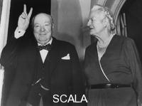 ******** Sir Winston Churchill and Lady Churchill on his 81st birthday, Hyde Park Gate, London, 1955.