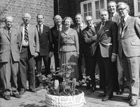 ******** Margaret Thatcher pictured in the garden of her Chelsea home with some colleagues, 23rd April 1979.