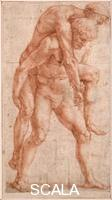 Raphael (1483-1520) Young Man Carrying an Old Man on His Back (Aeneas and Anchises), ca 1514