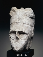 ******** Head of a warrior, stone carving, from Mont'e Prama, Cabras, Sardinia, Italy. Nuragic civilisation.