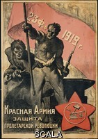 ******** February 23, 1919. The Red Army is the Defender of the Proletarian Revolution. Poster published in Petrograd By an unknown artist to celebrate Red Army Day. Commemorating the tens of thousands of volenteers who joined the Red Army in 1918 following Troksky's call, The Socialist Fatherland is in Danger By Unknown. Part of the David King Collection. Presented to Tate Archive By David King 2016.