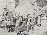 ******** Man selling kid goats and lambs for Easter, Rome, Italy, from an 1831 print by Bartolomeo Pinelli, from L'Illustrazione Italiana, Year XL, No 12, March 23, 1913.