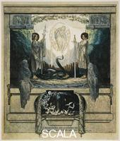******** And from high up I saw two angels come who descended with two flaming swords, Purgatory, Canto VIII, Divine Comedy, by Dante Alighieri (1265-1321). Illustration by Franz von Bayros (1866-1924), Vienna, 1921.