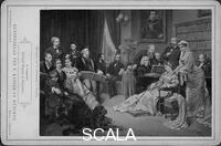 ******** Soiree at Wahnfried's House. Left to right: Franz von Lenbach, Emil Scaria, Cosima Wagner with her son Siegfried, Amalie Materna, unknown, Richard Wagner (with book), Hans Richter, Hermann Levi, Franz Liszt (playing piano), unknown, Franz Betz, unknown, Albert Niemann, Marie von Schleinitz (?), unknown; the portrait of Ludwig II of Bayern is hanging on the wall