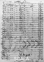 ******** Last page from the score for 'The Nibelung's Ring' by Richard Wagner. On the lower border the note: 'Fulfilled in Wahnfried on November 21st, 1874. I don't say anything more!!RW'