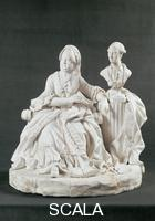 Vienna Pottery (1744-1864) Biscuit statuette of Maria Theresa with bust of Joseph II