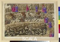 Botticelli, Sandro (1445-1510) Illustration to Dante's 'Divine Comedy' - Inferno XVIII, 8th circle of Hell: Punishment of Panderers, Seducers [above, running in opposite rings] and Flatterers [below in a pit of their own excrements], c. 1480