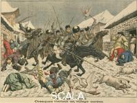 ******** Cossacks terrorising a Korean village, Russo-Japanese War (from 'Le Petit Journal', Paris, 27th March 1904)