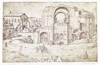 ******** New St. Peter's and Constantine's Basilica on the left no. 0210 (after a drawing by M. van Heemskerck)