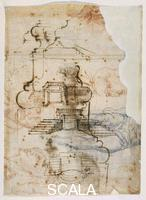 Michelangelo (Buonarroti, Michelangelo 1475-1564) Base profiles and designs for stairs for the Laurentian Library no. 92 Av