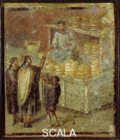Roman art The Bakery. Breadseller in Public Square, from House of the Baker, Pompeiian fresco
