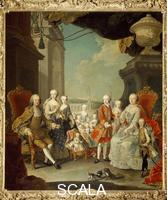 Mytens, Martin van (1695-1770) Marie Therese and Francis I of Austria with the sons at Schoenbrunn Castle, 1756