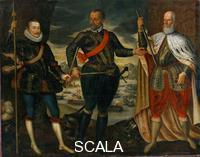 ******** Don Juan d'Austria, son of Emperor Charles V, as Commander of the Imperial fleet against the Turks in the battle of Lepanto in 1571. The two other commanders at Lepanto were Marc'Antonio Colonna (left) and the Doge Sebastiano Venier (right)