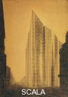 Mies van der Rohe, Ludwig (1886-1969) Friedrichstrasse Skyscraper, project. Berlin-Mitte, Germany, 1921. Perspective of north-east corner.
